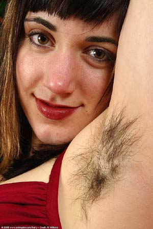 girl with hairy underarm